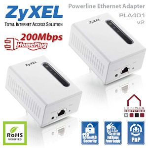 ZyXel PLA-401 v2 Powerline 200Mbit Adapter Starterkit