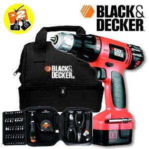 Black & Decker 12V-Akku-Bohrschrauber mit 2 Akkus Zubehör und Werkzeug im Softbag